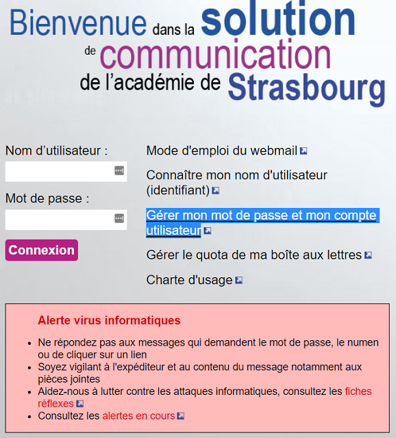 se connecter ac strasbourg webmail