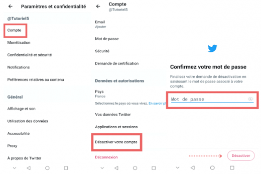 Supprimer Compte Twitter Android Ios